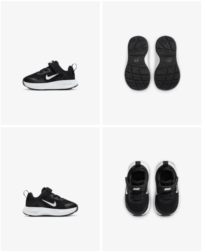 Nike WearAllDay - Baby- en peuterschoen Prijs: € 34,99 (Dit is de originele prijs zonder de 20% korting) Kleur: Zwart/Wit Verkrijgbaar in de maten: 17 t/m 27