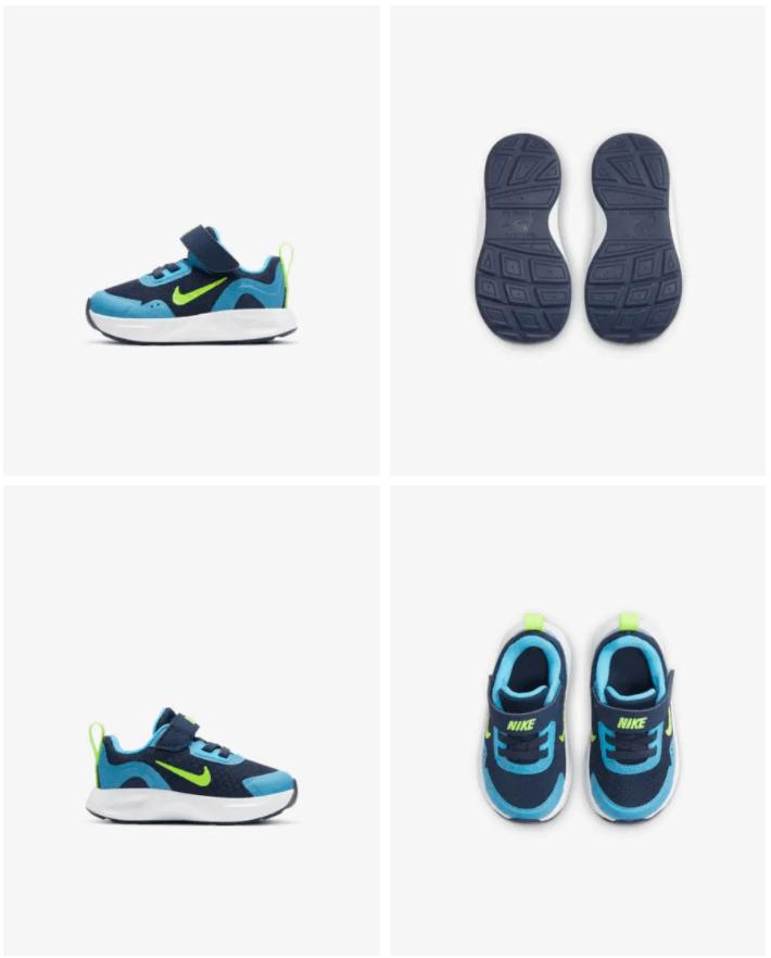 Nike WearAllDay - Baby- en peuterschoen Prijs: € 34,99 (Dit is de originele prijs zonder de 20% korting) Kleur: Midnight Navy/Baltic Blue/Wit/Volt Verkrijgbaar in de maten: 17 t/m 27