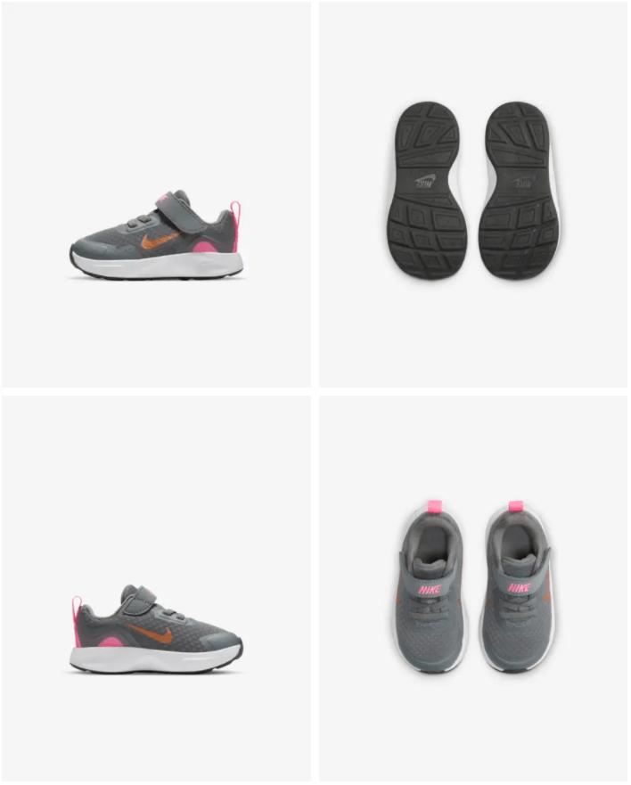 Nike WearAllDay - Baby- en peuterschoen Prijs: € 34,99 (Dit is de originele prijs zonder de 20% korting) Kleur: Smoke Grey/Pink Glow/Off Noir/Metallic Copper Verkrijgbaar in de maten: 17 t/m 27
