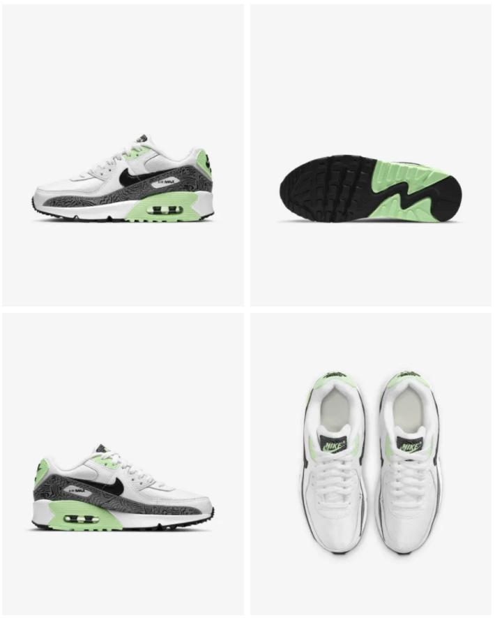 Nike Air Max 90 - Kinderschoen Prijs: € 109,99 Kleur: Wit/Vapor Green/Zwart Verkrijgbaar in de maten: 35,5 t/m 39