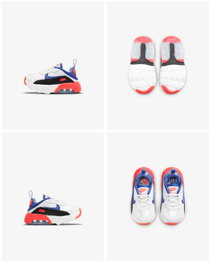 Nike Air Max 2090 EOI - Baby-peuterschoen Prijs: € 79,99 Kleur: Summit White/Zwart/Bright Crimson/Sapphire Verkrijgbaar in de maten: 17 t/m 27