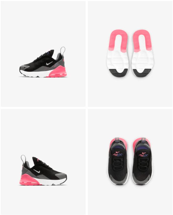 Nike Air Max 270 - Baby-peuterschoen Prijs: € 69,99Kleur: Zwart/Smoke Grey/Sunset Pulse/Metallic Silver Verkrijgbaar in de maten 17 t/m 27