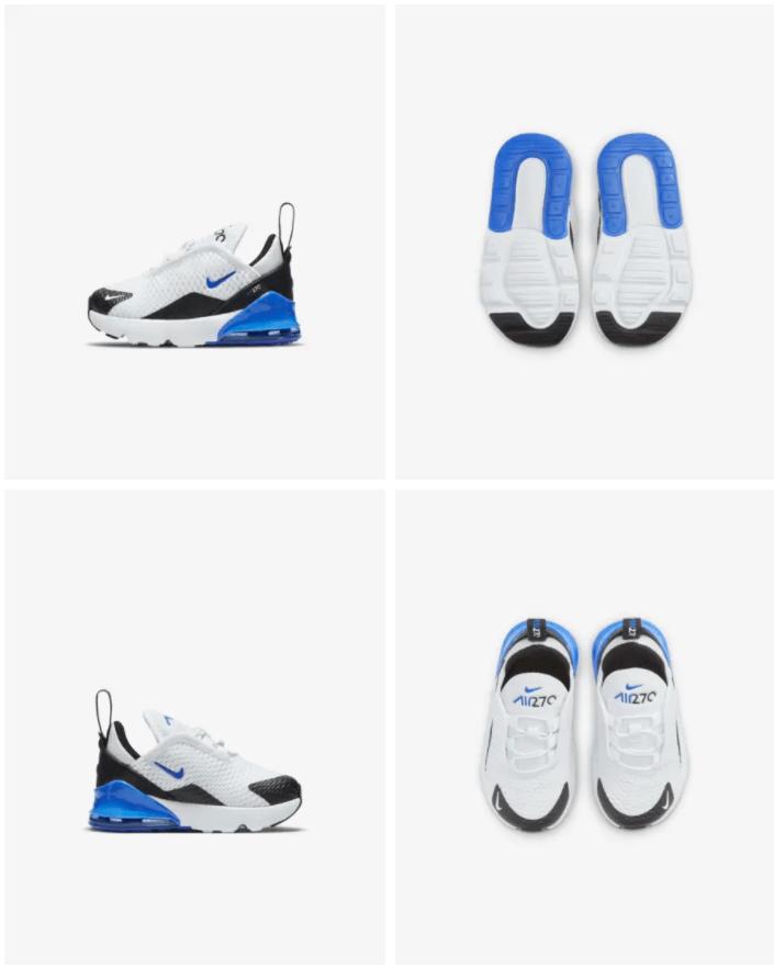 Nike Air Max 270 - Baby-peuterschoen Prijs: € 69,99 Kleur: Wit/Zwart/Signal Blue Verkrijgbaar in de maten 17 t/m 27