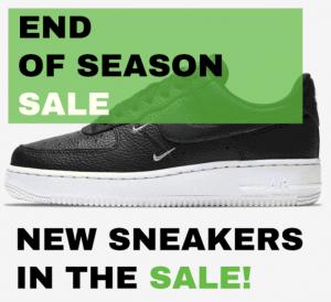 """SneakerBAAS """"End of Season Sale"""" Nike Air Force 1 sneaker sale"""