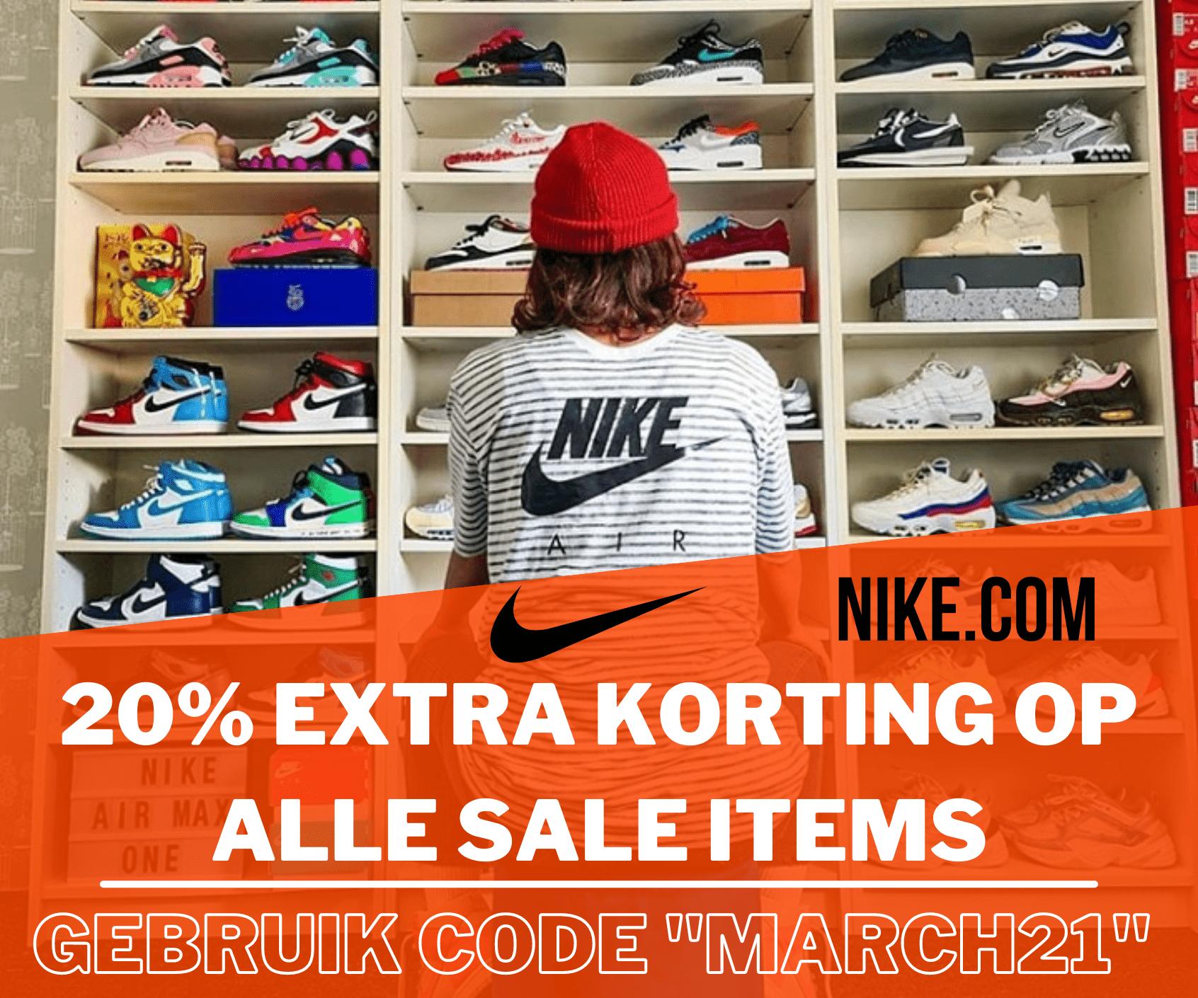 Nike korting -20% extra korting op alle sale producten - maart 2021