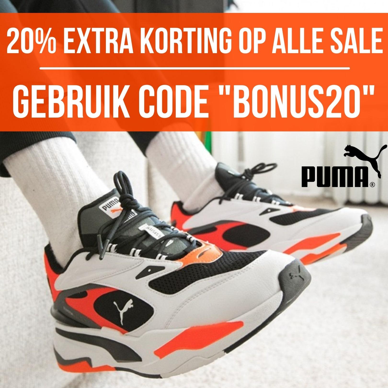 "Puma kortingscode ""BONUS20"" voor 20% extra korting"